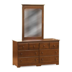 Atlantic Furniture - Windsor 6 Drawer Dresser with Portrait Mirror - Antique Walnut - AC6965204 - Shop for Dressers from Hayneedle.com! You and your child will love the beauty simplicity and classic elegance of the Windsor 6 Drawer Dresser with Portrait Mirror - Antique Walnut. Made to last from infancy through the teenage years this beautiful dresser is crafted from eco-friendly hardwood with a gorgeous certified non-toxic antique walnut finish. Durable hardwood casings and plywood drawers add to the craftsmanship of this dresser. Each drawer is easy to pull out and push in with its smooth rolling ball bearing design while the English dovetail joinery on the drawers adds to its strength durability and longevity. The Windsor Portrait Mirror sits perfectly atop this dresser and is framed in matching wood. Both the dresser and the mirror feature small detailing that adds depth and character to the set. Additional Features Durable hardwood casing Drawers constructed from plywood Ball bearing drawer guides roll smoothly English dovetail joinery on drawers High build finish is certified non-toxic Ships fully assembledAbout Atlantic FurnitureFounded in 1983 as Watercraft Inc. Atlantic Furniture started as a manufacturer of pine waterbed frames. Since then the Springfield Mass.-based company has expanded to Fontana Calif. The company has moved away from the use of pine and now specializes in imported furniture made of the wood of rubber trees.The Benefits of Eco-Friendly RubberwoodPrized as an environmentally friendly wood rubberwood makes use of trees that have been cut down at the end of their latex-producing life cycle. The trees are removed by hand and replaced with new seedlings. In the past felled rubber trees were either burned on the spot or used as fuel for locomotive engines brick firing or latex curing. Now the wood is used in the manufacture of high-end furniture. It is valued for its dense grain stability attractive color and acceptance of different finishes.A