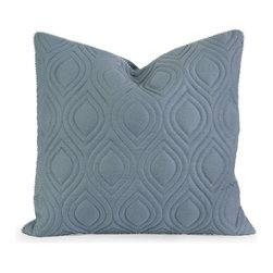 iMax - iMax IK Kavita Blue Linen Quilted Pillow with Down Fill X-65124 - Iffat Khan has developed a luxurious collection of down pillows with quilted details and top of the line fabrics. Iffat's refined aesthetic is evident in her collection which combines clean modern, classic casual and timeless traditional styles with her own creative twist.