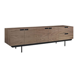 Modway - Herald Sideboard in Dark Walnut - Display your best with the Herald Designer Sideboard. The minimalist design carefully gathers together your silverware, dishes and other dining room finery, while the outside appearance presents a unified whole. Herald is waist level to allow for easy food storing and serving, and pleasantly constructed to reside admirably in either casual or formal spaces.