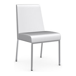 Calligaris - Amsterdam Gummy Leather Chair, Chrome Frame, Optic White, Set of 2 - Seat Frame Supported By Elastic Belts