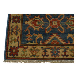 2'x3' Denim Blue Kazakh Oriental Rug 100 Percent Wool Hand Knotted Sh18514 - Our Tribal & Geometric hand knotted rug collection, consists of classic rugs woven with geometric patterns based on traditional tribal motifs. You will find Kazak rugs and flat-woven Kilims with centuries-old classic Turkish, Persian, Caucasian and Armenian patterns. The collection also includes the antique, finely-woven Serapi Heriz, the Mamluk Afghan, and the traditional village Persian rug.
