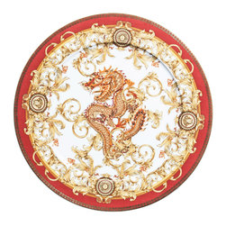 Versace - Asian Dream Porcelain Service Plate - The most legendary figure of Asian mythology, the red dragon rises majestically from this opulent dinnerware. Each piece features golden baroque patterns and four small medallions, which represent the sun. This collection will add all the might and glory to your table.