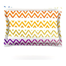 "Kess InHouse - Sreetama Ray ""Chevron Add"" Warm Chevrons Pillow Sham (Cotton, 30"" x 20"") - Pairing your already chic duvet cover with playful pillow shams is the perfect way to tie your bedroom together. There are endless possibilities to feed your artistic palette with these imaginative pillow shams. It will looks so elegant you won't want ruin the masterpiece you have created when you go to bed. Not only are these pillow shams nice to look at they are also made from a high quality cotton blend. They are so soft that they will elevate your sleep up to level that is beyond Cloud 9. We always print our goods with the highest quality printing process in order to maintain the integrity of the art that you are adeptly displaying. This means that you won't have to worry about your art fading or your sham loosing it's freshness."