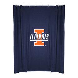 Sports Coverage - NCAA Illinois Illini College Bathroom Accent Shower Curtain - Features: