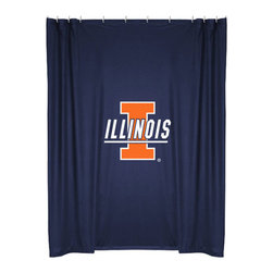 Sports Coverage - NCAA Illinois Illini College Bathroom Accent Shower Curtain - Features: