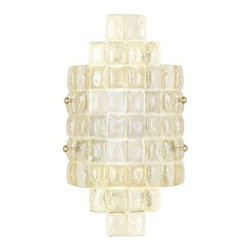 840650-2ST Sconce Constructivism - Sconce of individually cast Sunrise gold glass pillow-shaped pieces, fused at high temperature in a hand-laid cobblestone pattern. The individual lenses create a fascinating light diffuser & sculptural form. Exposed metal in hand-applied gold leaf.