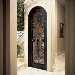 Wine Door - Wine Door with wrought iron grape accents (Design W-337-01)
