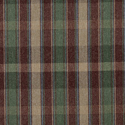 Burgundy Blue Green Beige Plaid Country Tweed Upholstery Fabric By The Yard - This upholstery fabric has the look and feel of a cabin or lodge. This fabric is rated heavy duty, and is great for all indoor upholstery uses.