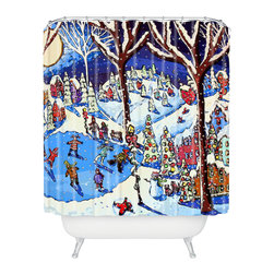 DENY Designs - DENY Designs Renie Britenbucher Christmas Time Is Here Shower Curtain - Who says bathrooms can't be fun? To get the most bang for your buck, start with an artistic, inventive shower curtain. We've got endless options that will really make your bathroom pop. Heck, your guests may start spending a little extra time in there because of it!
