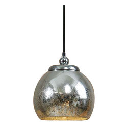 Uttermost Navarre Mini Pendant - Distressed mercury glass accented with polished nickel plated details. Distressed mercury glass accented with polished nickel plated details.