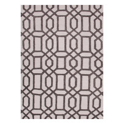 Jaipur Rugs - Modern Geometric Pattern Gray /Black Wool/Silk Tufted Rug - CT07, 8x11 - Over scaled sharp geometrics characterize this striking contemporary range of hand tufted rugs. The high/low construction in wool and art silk creates texture and surface interest and gives a look of matt and shine.