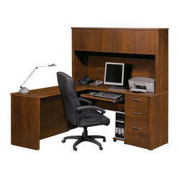 Bestar - Bestar Embassy L-shaped Workstation with 1 Pedestal in Tuscany Brown - Bestar - Executive Desks - 6086563 - Warm and elegant the Embassy Collection stands out with its versatility. From executive groups to computer work centers Embassy is the answer. Stylish moldings thermofused melamine finish and designer handles are some of the great features offered in this stunning collection by Bestar. This traditional modular collection offers numerous configuration for various use.