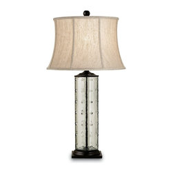 Currey and Company - Rossano Table Lamp - With it's modern shape the Rossano Table Lamp blends contemporary style with a coastal inspired feel. The glass is recycled and the accents are a beautiful bronze color. Includes a creamy oatmeal linen shade.
