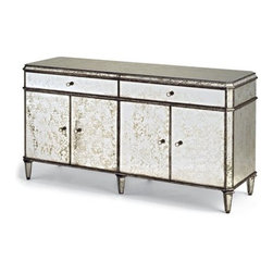 """Currey & Company - Currey & Company 60 x 18 Antiqued Mirror Credenza - Currey & Company is a manufacturer of distinctive home furnishings products. They are best known for our lighting products chandeliers wall sconces table and floor lamps as well as interior furniture garden furniture and accessories. All Currey & Company's lighting products are designed and engineered to meet the rigid safety standards established by UNDERWRITER'S LABORATORY and bear the UL/CUI label (E141302 or E163523). This UL/CLUI safety certification is valid in the United States and Canada. Currey & Company lighting products can also be manufactured to meet lighting standards around the world including the European Union Middle East and Asia. Currey & Company's """"vision"""" is to create and fulfill the desire for distinctive home furnishings. Currey & Company known today for its vibrant collection of lighting products started its existence in 1988 as a purveyor of historic garden furnishings. When Robert B. Currey founded Garden Source Furnishings the main focus of the company was the creation and marketing of classic garden furniture from the Winterthur Museum and the Smithsonian Institution. These collections were joined by a very American collection of garden whimsies birdhouses and rustic twig furniture. Some lighting products were among these first offerings and by the early 1990's the lighting category had become very important. Accordingly the name of the company was changed to Currey & Company to embrace a new focus on products for the interior. Chandeliers and wall sconces today form a significant part of the company's business and these goods are characterized by the attention and detailing that goes into their manufacturing and finishing. With a workforce in Atlanta and Currey International in the Philippines Currey & Company brings to the marketplace merchandise that not only speaks of the touch of the human hand but also utilizes a myriad of natural materials. Hand forged iron prod"""