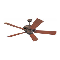 Joshua Marshal - Grand Prix 60-Inch 5-Blade Ceiling Fan with Teak Blades - Grand Prix 60-Inch 5-Blade Ceiling Fan with Teak Blades