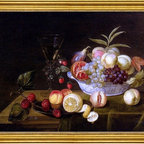 """Frans Ykens-18""""x24"""" Framed Canvas - 18"""" x 24"""" Frans Ykens A Still Life Of Peaches, Grapes, Pomegranates, Figs And Wild Strawberries In A Wan-Li Porcelain Bowl All Resting On A Tabletop framed premium canvas print reproduced to meet museum quality standards. Our museum quality canvas prints are produced using high-precision print technology for a more accurate reproduction printed on high quality canvas with fade-resistant, archival inks. Our progressive business model allows us to offer works of art to you at the best wholesale pricing, significantly less than art gallery prices, affordable to all. This artwork is hand stretched onto wooden stretcher bars, then mounted into our 3"""" wide gold finish frame with black panel by one of our expert framers. Our framed canvas print comes with hardware, ready to hang on your wall.  We present a comprehensive collection of exceptional canvas art reproductions by Frans Ykens."""