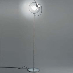Artemide - Artemide | Miconos Floor Lamp - Design by Ernesto Gismondi.Floor standing luminaire for diffused incandescent lighting.Diffuser in transparent hand-blown glass with handle and lampholder assembly in chrome plated steel.Base and stem in chrome plated steel.Foot dimmer located on cord.