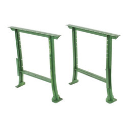 """Industrial Tables - c. 1940's american vintage industrial """"factory green"""" enameled cold-rolled steel workbench or table legs with flared feet - lyon metallic mfg. co., aurora, il."""