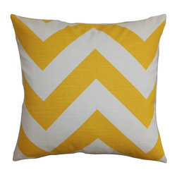 """The Pillow Collection - Eir Zigzag Pillow Yellow Slub 20"""" x 20"""" - Spruce up your living space with a bright-hued decor pillow like this one. The accent pillow features zigzag pattern in shades of yellow and white. Toss this square pillow anywhere inside your home for a quick update. Pair it up with solids and other patterns like ikats, plaids and dots for a funky look. Made of 100% durable and cushy cotton fabric. Hidden zipper closure for easy cover removal.  Knife edge finish on all four sides.  Reversible pillow with the same fabric on the back side.  Spot cleaning suggested."""