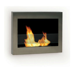 Anywhere Fireplace - SoHo Wall Mounted Bio-ethanol Fireplace - The clean, geometric, sophisticated design of the wall mount SoHo model of the Anywhere Fireplace™ is a stunning addition to any room. It works with any décor. The warm glow created by the dancing flames of the fire will create atmosphere anywhere you wish to hang it – living room, bedroom, family room, dining room, anywhere…. Very easy to install on any wall and mounting hardware is included.