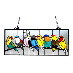 None - Birds Design Art Glass Window Panel with Bronze Finish - Add some character to your home by installing this art glass window piece. It features a peaceful image of birds sitting on a branch,and is made of multiple colors. The frame has a dark oil rubbed bronze finish. All mounting hardware is included.