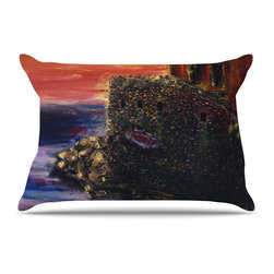 """Kess InHouse - Josh Serafin """"Seaside Village"""" Brown Red Pillow Case, Standard (30"""" x 20"""") - This pillowcase, is just as bunny soft as the Kess InHouse duvet. It's made of microfiber velvety fleece. This machine washable fleece pillow case is the perfect accent to any duvet. Be your Bed's Curator."""