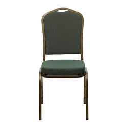 Flash Furniture - Hercules Crown Back Stacking Banquet Chair with Green Patterned Fabric and Gold - This is one tough chair that will withstand the rigors of time. With a frame that will hold in excess of 500 lbs., the Hercules Series Banquet Chair is one of the strongest banquet chairs on the market.