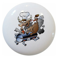 Carolina Hardware and Decor, LLC - BBQ Pig Ceramic Cabinet Drawer Knob - 1 1/2 inch white ceramic knob with one inch mounting hardware.  Great as a cabinet, drawer, or furniture knob.  Adds a nice finishing touch to any room!