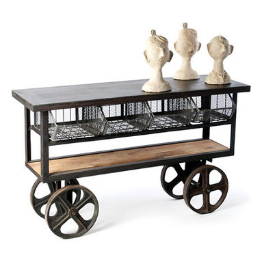 Industrial Rolling Console Table - Real industrial style for your dining room or den as a wet bar. Made of steel frame, cast iron Wheels and reclaimed wood shelfs. This console is solid and was built to last. Four removable wire baskets Distressed, antiqued steel.