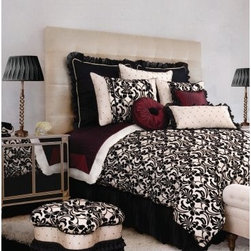 Jennifer Taylor Yorke Comforter/Duvet Set - Hollywood glam and flirty accents make the Jennifer Taylor Yorke Comforter/Duvet Set a must-have make over for your master bedroom. You'll love the black flocked damask pattern against pearl faux silk, fun bubble bed skirt, and luxe deep red touches. Black beading, diamond pintuck touches, and peek-through sheer black round out the look of this alluring bedding collection. It comes in several size options, each with coordinating pillow shams finished with flirty sheer ruffles, sexy diamond and dot pattern, and slim trim.Additional Details10-piece set: 1 comforter/duvet: 110 x 96 inches1 bed skirt: 78 x 80 inches (18-inch depth)3 Euro shams: 26 x 26 inches2 kings shams: 21 x 37 inches3 décor pillows9-piece set: 1 comforter: 93 x 96 inches1 bed skirt: 60 x 80 inches (18-inch depth)2 Euro shams: 26 x 26 inches2 standard shams: 20 x 27 inches3 décor shams4-piece set: 1 comforter: 104 x 96 inches1 bed skirt: 60 x 80 inches (18-inch depth)2 king shams: 21 x 37 inchesAbout ACG Green Group, Inc.ACG Green Group is a home furnishing company based in Irvine, California and is a proud industry partner with the American Society of Interior Designers. ACG Green features Jennifer Taylor and Sandy Wilson, their exclusive home décor lines. These two complete collections offer designer home furniture, bedding sets, dining linens, curtains, pillows, and more in classic silhouettes, original designs, and rich colors to complement your home and life.