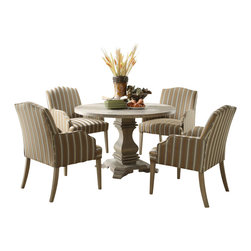 Homelegance - Homelegance Euro Casual 5-Piece Round Pedestal Dining Room Set - With inspiration drawn from traditional French decorative accents the effortlessly elegant Euro Casual collection adds warmth and charm to your dining room. A classic urn pedestal base acts as the sole support for the routed round table top. The rustic weathered finish on the birch veneers hints of time gone by and the complimenting fabric on the wood-framed accenting chairs lends a distinct flair to the collection.