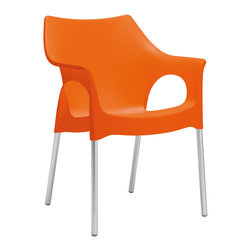 Eurostyle - Ola Armchair (Set of 4) - Orange/Aluminum - Recyclable polypropylene shell