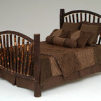 Hickory Log Bed - This rustic log bed is handcrafted from natural hickory logs. All bed sizes are available.  Visit Woodland Creek Furniture to see many additional designs.