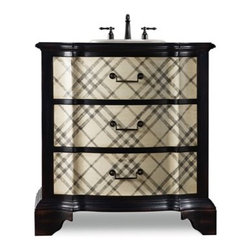 "Cole & Co. - Cole & Co. 32"" Designer Series Chadwick Chest - Handpainted Classic Plaid - Cole & Company combines great design with great flexibility, allowing you to mix and match size, finish, and style to create your own perfect bathroom vanity. The Chadwick is a fun and bold space-saving vanity. This classic plaid chest will never go out of style. It is a personality-filled piece and an eye catcher for any style decor. Individually constructed of select poplar solids and veneers, it features two functioning drawers with black painted hardware pulls.Cole & Co. has offered its famous Designer Series since 1998 and is among the most popular and well-known is the US. Featured is almost every major design and interiors magazine, each handcrafted furniture piece in the Designer Series has the back cut out by hand for plumbing and sink installation and door or drawers configured to retain usefulness and storage capabilities. Designer Series vanities come with the wooden tops as shown to replicate a fine piece of furniture much the same way fine antiques have been converted as vanities in this way for years. Each piece is thoughtfully configured for ease in plumbing installation.When purchasing Cole & Co. vanities, you will have peace of mind that you're choosing furnishings of enduring quality. Caring craftsmen pay attention to every detail such as: All drawers include wood-on-wood glides for smooth, efficient operation, and all touching drawer guide parts are waxed for smooth and quiet operation; Strength and durability are supplied by mortise and case construction reinforced with glue and metal fasteners; Solid lumber and select wood veneers are carefully chosen to permit consistent finishing as use of veneers enables more decorative looks unattainable with solid wood. Veneers, which are used only on flat surface areas such as the case tops and sides, also add weight, strength and dimensional stability; and lastly, Up to 30 finishing steps, including 13 steps of hand-sanding and accenting are used with physical distressing done by hand to insure an authentic, antique look. In addition, all items receive two to three full coats of catalyzed lacquer for extra depth and durability and a final top coat of nitrocellulose to help protect it from wear, water and light.Your Cole & Co. quality vanity is a significant investment expected to last for generations. To maintain its beauty and help it last, please refer to the Designer Series product information sheet and the Care & Cleaning FAQ. Each piece is handmade and finished and actual color may vary. Features: Completely hand madeAntique Black HardwareTwo functioning drawers with black painted hardware pulls32-1/4""W x 17-3/4""D x 34-1/4""HFaucet(s) not includedSink(s) not included and are not available from Cole & Co.Ships with wooden topPlease confirm sink measurements will work prior to ordering. Cole & Co. can custom cut your vanity for countertops and faucets. Please contact us for details.No assembly required How to handle your counter"