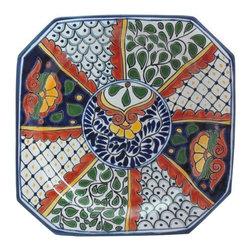 """Mexican Talavera - Mexican Talavera 12"""" Octagonal Serving Platter, Design C - Mexican Talavera 12"""" Octagonal Serving Platter"""