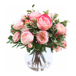 "Jane Seymour Botanicals - Jane Seymour Botanicals Mixed Rose Bouquet In Glass - Mixed roses in bouquet-style in varying shades of pink are resting comfortably in a round glass bubble bowl vase. 17"" tall and gorgeous! Fake water adds to the realistic look."