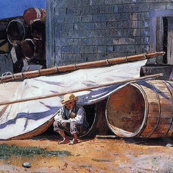 "Winslow Homer Boy in a Boatyard (Boy with Barrels)  Print - 14"" x 28"" Winslow Homer Boy in a Boatyard (also known as Boy with Barrels) premium archival print reproduced to meet museum quality standards. Our museum quality archival prints are produced using high-precision print technology for a more accurate reproduction printed on high quality, heavyweight matte presentation paper with fade-resistant, archival inks. Our progressive business model allows us to offer works of art to you at the best wholesale pricing, significantly less than art gallery prices, affordable to all. This line of artwork is produced with extra white border space (if you choose to have it framed, for your framer to work with to frame properly or utilize a larger mat and/or frame).  We present a comprehensive collection of exceptional art reproductions byWinslow Homer."