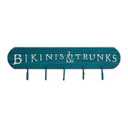 Primitives by Kathy - 'Bikinis & Trunks' Hook Board - Hang up beach towels, swimsuits and other apparel with this handsome hook board that offers a sturdy wood construction and a playful design.   24'' L Wood / metal Imported
