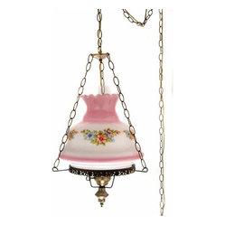 27-Inch Pink and Blue Floral Swag Lamp with Blue Tint Glass