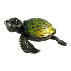 Zeckos - Cute Mosaic Green Glass Sea Turtle Accent Lamp Crush - This beautiful green stained glass sea turtle shaped lamp adds the perfect accent to desks or nightstands of turtle lovers. Measuring 3 1/6 inches tall, 8 inches long and 6 inches wide, the lamp features an antiqued bronze finished resin base of the turtle's head, legs and tail, with the shell made of tiny bits of green glass. He looks a bit like Crush from the film Finding Nemo. The lamp is brand new, never used or displayed. It uses one nightlight style bulb (included). It makes a great gift idea. We have a very limited supply of these, so don't delay. Get yours now