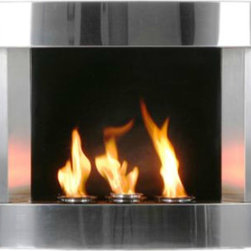 """Stainless Steel Wall-mount Fireplace - If you are looking for that """"wow"""" factor in your living room makeover, think about adding a wall mounted fireplace if your space doesn't have one. This is great for apartments and condos especially. I love this stainless steel fireplace from Grandin Road. I think it'd be perfect in a living room or dining area."""