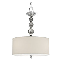 "Quoizel - Contemporary Downtown Collection 17"" Wide Pendant Chandelier - Get cool sleek sophistication with this contemporary pendant chandelier design. Shining glass ball accents complement a cream linen drum shade bringing a soft modern sensibility to your home decor. Polished chrome finish. Part of the Quoizel lighting collection. Takes three 75 watt bulbs (not included). 17"" wide. 24"" high. Shade is 17"" wide and 5 1/2"" high.  Polished chrome finish.  Glass ball accents.  Cream linen shade.  Takes three 75 watt bulbs (not included).   17"" wide.   24"" high.   Shade is 17"" wide and 5 1/2"" high."