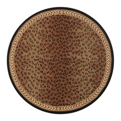 Safavieh - Hand-hooked Chelsea Leopard Brown Wool Rug (5'6 Round) - Add an elegant feel to your home d_cor with this leopard wool rug. This wool rug features a unique, round shape and brown, beige, and black leopard prints contained in a lovely border. This Chelsea area rug is hand-hooked of virgin wool.