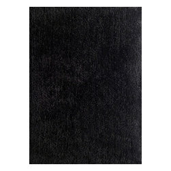 Rug - ~5 ft. x 7 ft. Authentic Black Living Room Area Rug, Shaggy & Hand-tufted - Living Room Hand-tufted Shaggy Area Rug