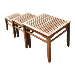 SEI - 3 Piece Teak Nesting Table Set - Get ready to party with these nesting tables! Each table has a different height and size to create a cozy nesting table effect that would be perfect for any home. Line them up side by side or stagger them for different looks from day to day. Since the wood is constructed of solid teakwood the tables will remain structurally sound for many years to come. Perfect for the patio or by the pool this nesting table set will be a great addition to your home.