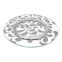 "Crystalla Glass - 18"" Lazy Susan Paisley - This contemporary take on the traditional Mankolam pattern from India is an exquisite and energetic design."