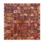 Multi Red Polished Square Pattern Mesh-Mounted Onyx Tiles - 1 in. x 1 in. Multi Red Mesh-Mounted Square Pattern Onyx Mosaic Tile is a great way to enhance your decor with a traditional aesthetic touch. This polished mosaic tile is constructed from durable, impervious onyx material, comes in a smooth, unglazed finish and is suitable for installation on floors, walls and countertops in commercial and residential spaces such as bathrooms and kitchens.