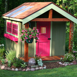 Deluxe Potting shed - This is an 8x12 potting shed with a 3' porch, it features sky lights, cedar shingles, wood out-swing windows, and a dutch door.