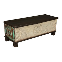 Sierra Living Concepts - Rustic Hand Carved Painted Coffee Table Chest - We merged the traditional elements of a hand carved chest with a few modern touches and created a coffee table storage box that can stand on its own.