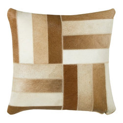 "Brown Off White Stripes 18"" x 18"" Pillow  Set of 2 - *18"" x 18"" Pillow with Hidden Zipper"